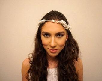 Bridal pearl cluster headpiece, Bridal pearl hair accessory, Bridal pearl halo, Bridal pearl tiara, Wedding headpiece, Bridal headpiece