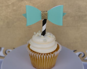 Bow Cupcake Topper, Baby Shower, Bridal Shower, Cupcake Toppers, Teal Cupcake Topper