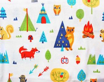 Cotton Fabric / Quilting Fabric / Woodland Animals/ Cute / Fox Bear Squirrel Arrow Tent Teepee Fire / White / Craft Dress Shirt / Half Metre