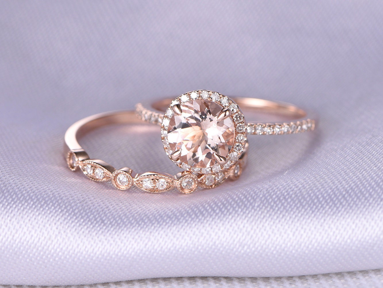 art deco ring vintage wedding rings Morganite Engagement ring 2pcs Wedding Ring Set 14k Rose gold Art Deco diamond Matching Band 7mm Round Stone Personalized for her Custom