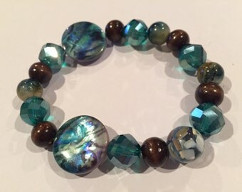 Blues and Browns Chunky beaded bracelet