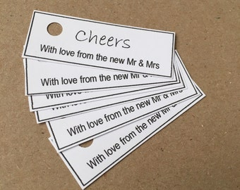 Wedding favour tags cheers, thank you new mr and mrs