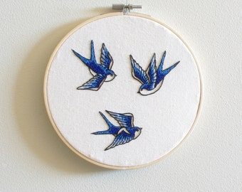 Three Swallows - Embroidered Hoop Art