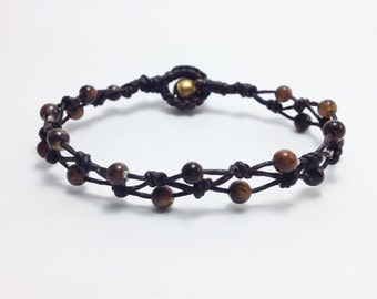 Tiger eye bracelet 4 mm tiger eye bead bracelet Wax cord bracelet Brown bracelet