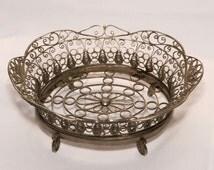 Vintage Filigree Bowl, Soviet filigree basket ,German silver grey metal openwork ornamented vase USSR  1970s