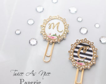 MADE TO ORDER Glitter Initial Planner Clip, Page Maker, Bookmark (improved version)
