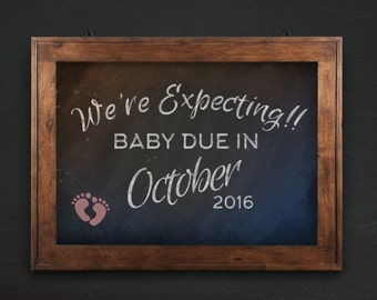 Chalkboard Pregnancy Announcement: digital chalkboard to share on social media, due in august, due in september
