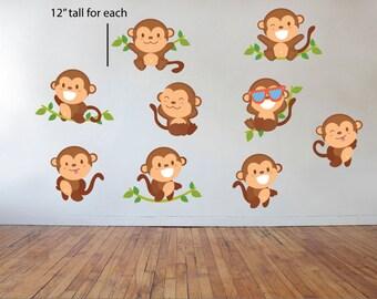 Monkey decals, Jungle animals wall decals, Farm animal decals, Cute monkey wall decals, Animal decals, Wall decals, Kid's room wall decals,