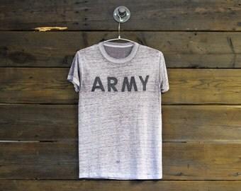 Natural Burnout Distressed Army Tee // Medium
