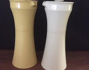 Tupperware oil and vinegar bottles Harvest gold & cream