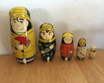 Firemen Nesting Dolls with dog  circa 1960  Hand Painted