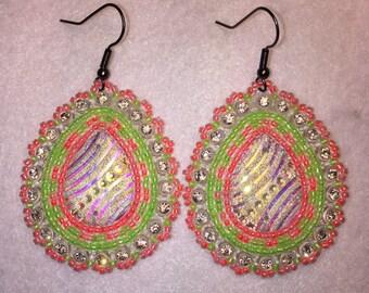 Neon Pink & Green Earrings