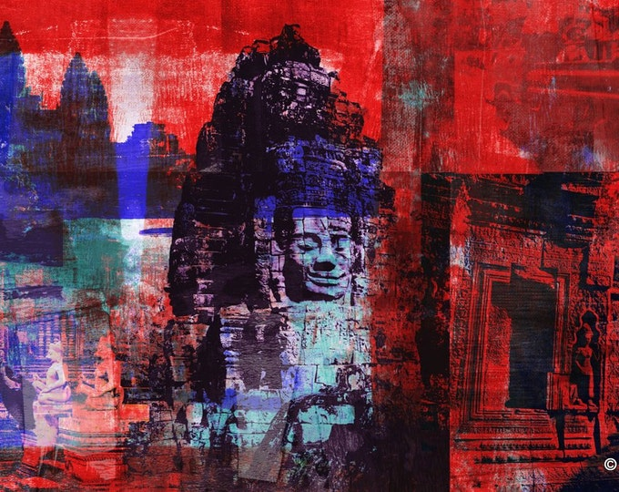 Cambodia Mixed Media III by Sven Pfrommer - Artwork is ready to hang with a solid wooden frame
