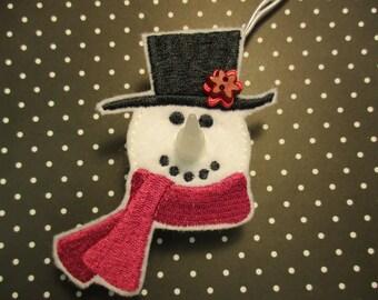 Snowman Tealight Ornament w/ Burgandy Scarf