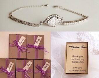Bridesmaids bracelet, wedding bracelet, bridal jewelry, wedding accessories, cubic zirconia bracelet