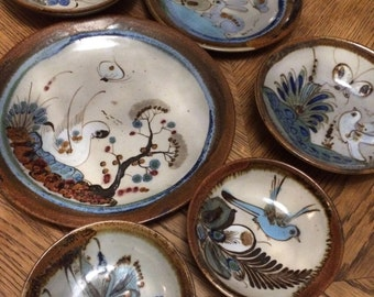 hand painted mexican dishes, set of six pieces
