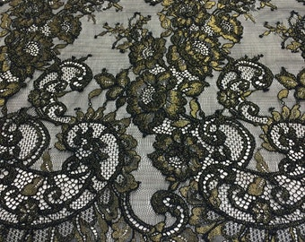 Black and gold tulle lace fabric
