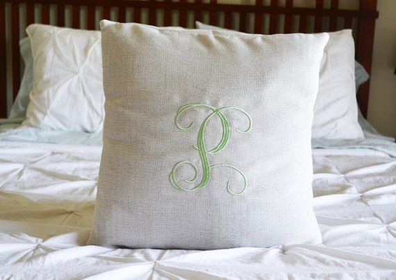 Decorative Initial Pillows : Monogrammed Decorative Pillow Initial Monogram Pillow