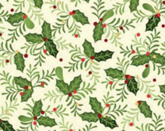 CHRISTMAS  - Benartex Fabric - Home for the Holidays - Christmas Holly - Cotton fabric by the yard