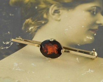 Faceted Amber Pin / Brooch 49x11 2.7g Sterling Silver