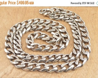ON SALE Heavy Curb Chain Necklace Sterling Silver 256.4g Vintage Estate