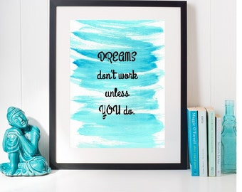 Downloadable Quote, Wall Art Printable, Watercolor digital, Home Decor Digital, back to school, Motivational Art, College Dorm Decor