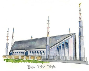 Boise Idaho Temple-Watercolor