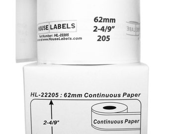 """6 Rolls of HouseLabels BROTHER-Compatible 2205 Continuous Labels (2-4/9"""" x 300') -- BPA Free!"""
