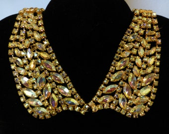 Sale: Aurora Borealis Rhinestone Collar and Matching Earrings