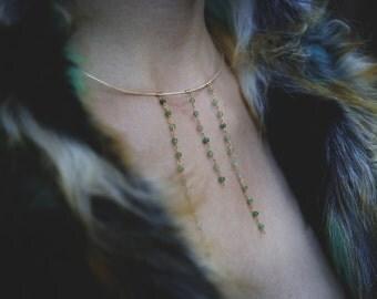 Waterfall Collar - Chrysoprase - Gold Filled - choker - chic - statement piece