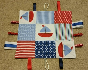Red-white-blue-nautical - teething toy -sensory toy- crinkle toy - baby shower gift