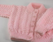 Pink Knit baby cardigan, 0 to 3 months - Pink baby sweater