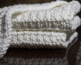 Hand Knit Dishcloth Set - Hand Knit Washcloth - White
