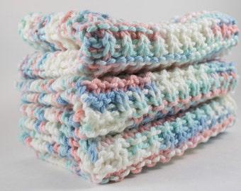 Hand Knit Dishcloth Set - Hand Knit Washcloth - White/Pink/Blue Mix