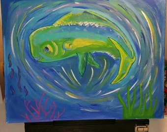 Mahi Mahi Dolphin Fish Acrylic Painting