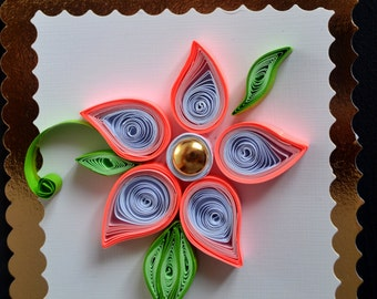 Gift tags, Quilling Flower, wedding tags, Birthday tags, party invitation, pink flowers