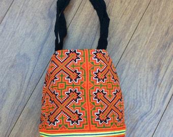 Chic Bohemian Shoulder Bag, Hand embroidered Hmong Bag, Ethnic boho bag, Tribal Chic bag