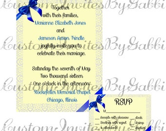 wedding invitation and rsvp (blue bow and lace)