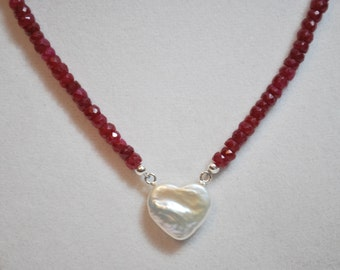 Natural Ruby Freshwater Cultured Heart Shaped Pearl Sterling Silver Necklace
