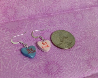 Polymer Clay Candy Heart Earrings
