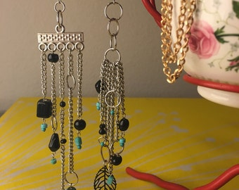 Black and Turquoise Cascade Earrings
