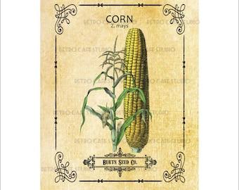 Digital Download Corn Seed Packet Vintage Illustration Transfer Burlap Iron On Clip Art; 1008