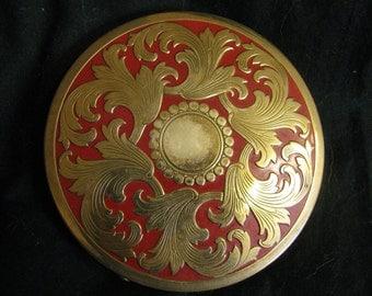 Vintage elegant Rex 5th Avenue brass & red enamel  round 4 inch diameter compact usa made