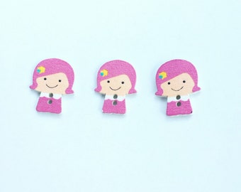 Pink Girl Button - Pink Hair Don't Care Craft Scrapbooking Wooden Buttons, Notions, Embellishment,  Craft Supplies, Wood Buttons - Pink Hair