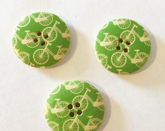 Green Bicycle Button - Large Button - 25 mm button - Wood Buttons - Bike Button - Notions Craft Supplies Cycling Button - Embellishment