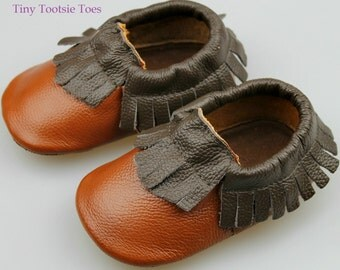 Baby&Toddler Leather Moccasins ~ Brown/Coffee