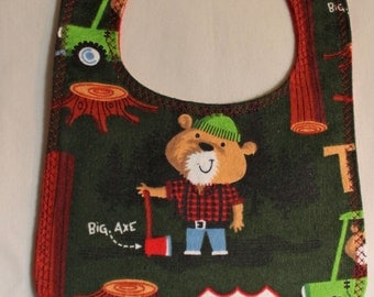 Logger Bear Flannel Bib  Snap Fastener layette mealtime essentials feeding time baby shower baby gift red flannel backing timberland bear