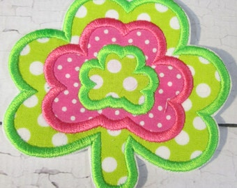 Ready To Ship Iron On or Sew On Embroidered Applique for Girls - Lucky Shamrock for St. Patrick's Day