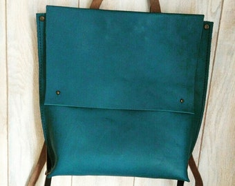 "Leather backpack ""Aquamarine"""
