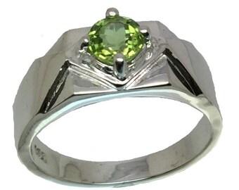 Elegant Peridot Silver Men's Ring, FREE SIZING